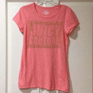 Juicy Couture Pink Shirt Top w/ Gold Bling Small